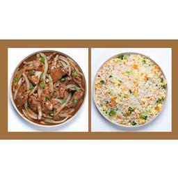 Carne com Cebola e Arroz Chop Suey
