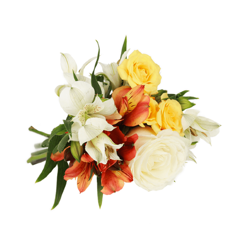 Buquê Mimo com Flores Brancas e Laranjas PP