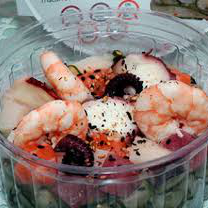 Sunomono pepino com camarão e gergelim