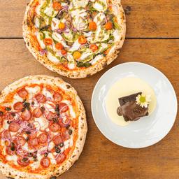2 pizzas, grátis sobremesa