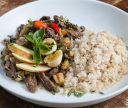 Picadinho Indiano de carne com arroz aromático