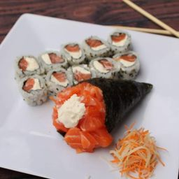 1 Temaki salmão filadelfia medio + 10 uramaki filadelfia