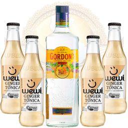 Kit Gin Importado Gordon's 750ml e 4 Águas Tônicas Ginger Wewi