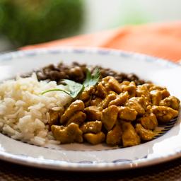 Frango ao Curry, Arroz Branco e Lentilha 370g