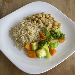 Grão de Bico com Arroz Integral e Legumes