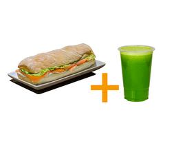 Sanduiche gourmet salmão + Suco 500ml