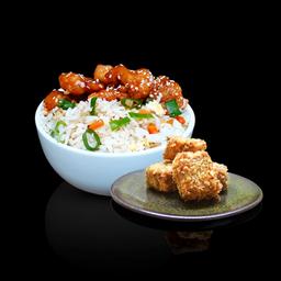 Frango agridoce com arroz + hot cripsy tofu