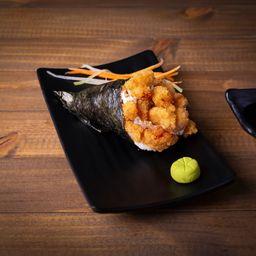 Temaki de camarão empanado com cream che