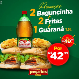2 bagunçinha + 2 fritas p + 1 Guaraná 1,5L