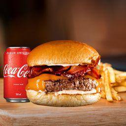 Smash Cheddar Bacon + Fritas Individual + Bebida 350ML