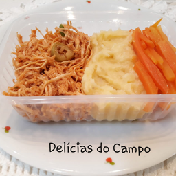 Marmita fit frango com purê de batata doce e cenoura (congelada)