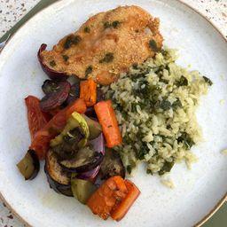 Frango Empanado + Arroz Verde + Legumes