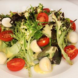 Salada Verde com Tomate Cereja e Mussarela de búfala