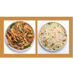 Carne com Batata e Arroz Chop Suey