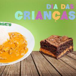 Estrogonofe de Frango e Brownie