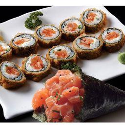 Hot 10 Peças + 1 Temaki Salmon