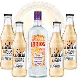 Kit Gin Importado Larios 700ml e 4 Águas Tônicas Orgânicas Ginge