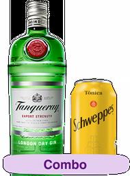 Combo Gin Tanqueray  750 mL + 6 Und. Tonica Schweppes Lata 350 mL