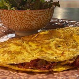 Omelete de Charque com Queijo Coalho