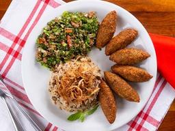 Falafel, Arroz com Lentilhas e Tabule