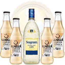 Kit Gin Importado Seagram's 750ml e 4 Águas Tônicas Orgânicas Gi