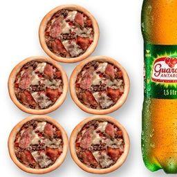 5 Esfihas de Carne Bacon e Queijo + 1 Guaraná de 1,5