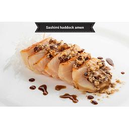 Sashimi de haddock com amêndoas