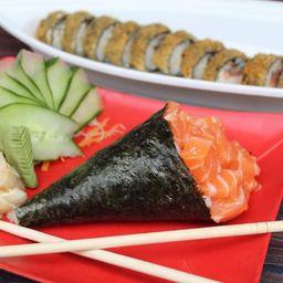 1 Temaki salmão simples + 10 hot filadelfia