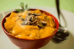 Sopa de Abóbora Cabotia e Carne