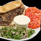 Sanduíche shawarme de carne prato