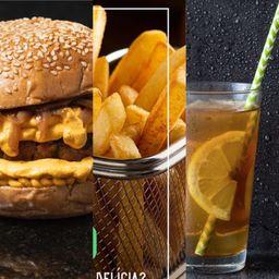 Mr. Vegan Melt com Batata Frita e Bebida