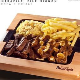 Porção Mignon + Contrafilé + Farofa + Fritas