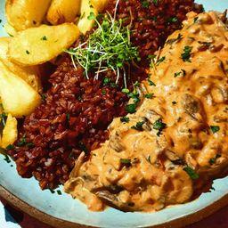 Strogonoff de Cogumelos (vegetariano)