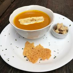 Sopa de Abóbora com Especiarias e Queijo Brie