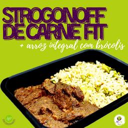 Strogonoff de Carne Fit + Arroz Integral com Brócolis (250g)