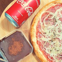 Combo Broto Calabresa, Bolo Trufado e Coca-Cola