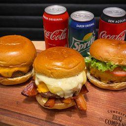 Trio de Burger Bbq + 3 Refris