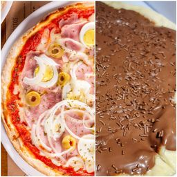Pizza Portuguesa G e Pizza Chocolate M