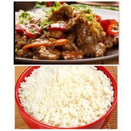 Carne com Barbecue + Arroz Branco
