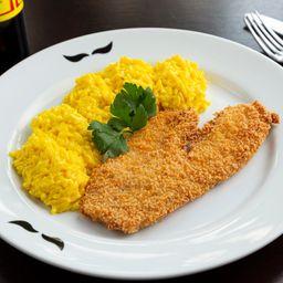 Tilápia crocante com arroz cremoso
