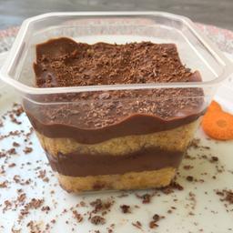 Bolo de pote fit bolo de cenoura com ganache meio-amargo 150g