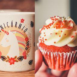 Caneca Unicórnio + Cupcake Red Velvet