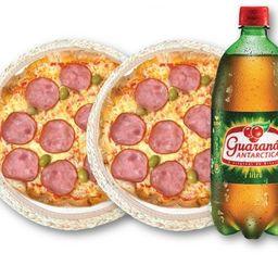 2 pizzas grande 55 reais +refri grátis