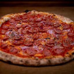 Pizza de Calabrese Grande e Mussarela Individual