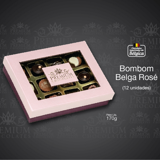 Caixa Bombom Belga Rosé - 170g