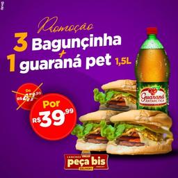 3 baguncinha + Guaraná Kuat 1,5