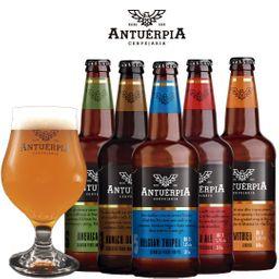 Kit Antuérpia com 5 Cervejas e 1 Taça