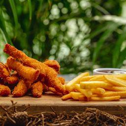 Frango frito+ fritas + molhos + refri