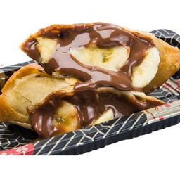Dupla Harumaki de Banana com chocolate