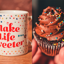 Caneca Life + Cupcake de Chocolate